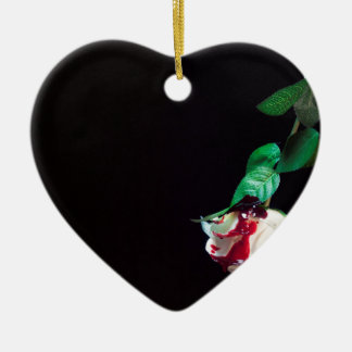 Rose white blood red side ceramic ornament