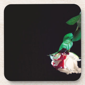 Rose white blood red side coaster