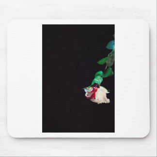 Rose white blood red side mouse pad