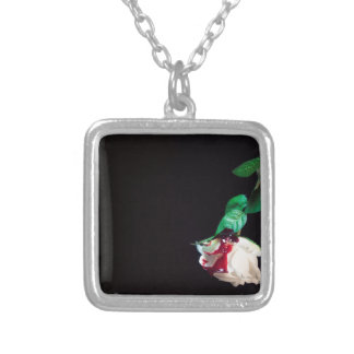 Rose white blood red side silver plated necklace