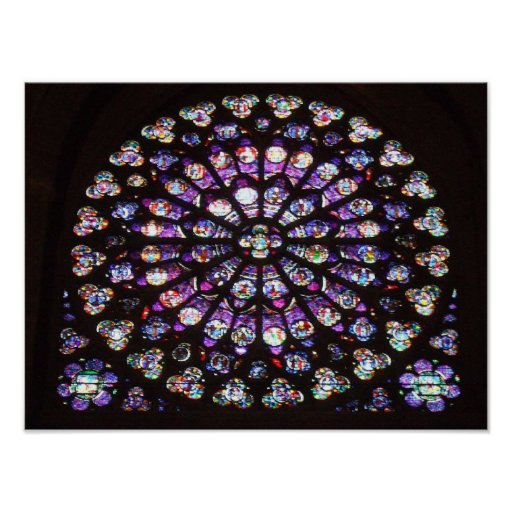 Rose Window Cathedral Of Notre Dame Paris France Poster
