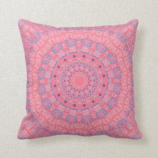 Rose Window Kaleidoscope Pinks and Blues Pillow