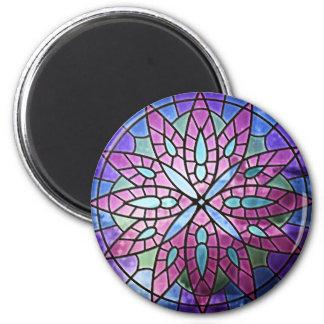 Rose Window - Purple Round Magnet