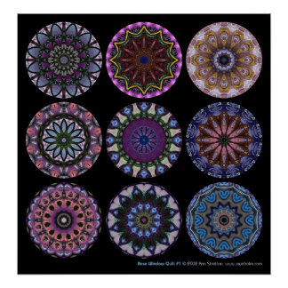 Rose Window Quilt #1 Poster