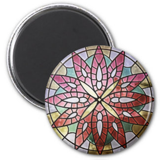 Rose Window - Red Round Magnet
