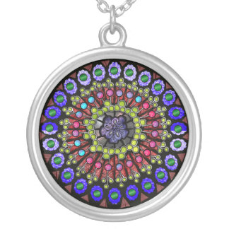 rose window silver plated necklace