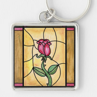 Rose Window Square Keychain