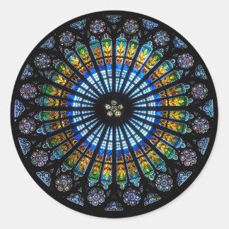 rose window strasbourg cathedral classic round sticker