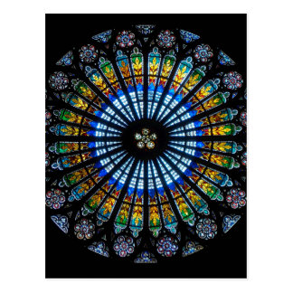 rose window strasbourg cathedral postcard
