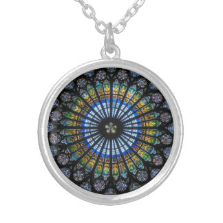 rose window strasbourg cathedral silver plated necklace