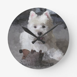 Rose With A New Toy Round Clock