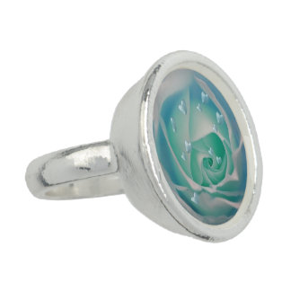 rose with hearts aqua photo rings