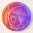 rose with hearts,blue coaster