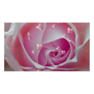 rose with hearts pink business cards