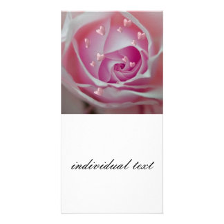 rose with hearts pink personalized photo card