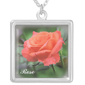 Rose with Raindrops Silver Plated Necklace