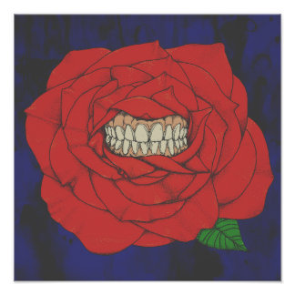 Rose with teeth, coloured poster
