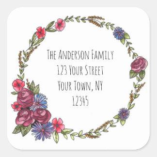 Rose Wreath Floral Address Square Sticker