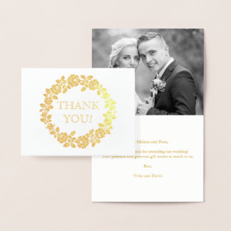 Rose wreath wedding Thank you photo Foil Card