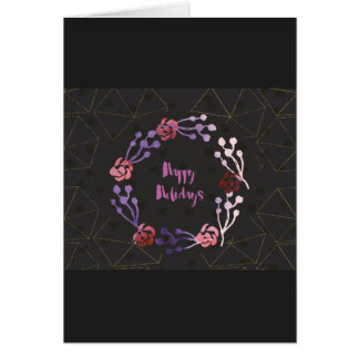Rose Wreathe Watercolor Card - Happy Holidays