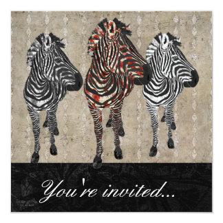 "Rose Zebra Shadows Invitation 5.25"" Square Invitation Card"