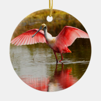roseate spoonbill and reflection ceramic ornament