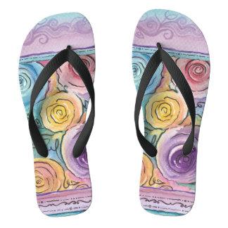 Rosebud Flip Flops Wide Straps