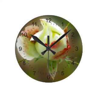 rosebud glowing round clock