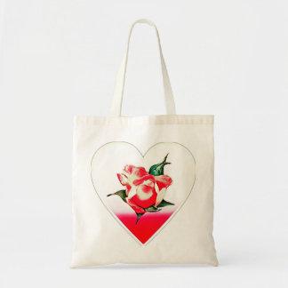 Rosebud heart tote bag