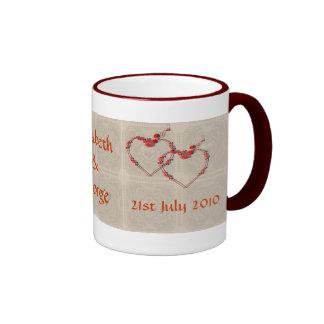 Rosebud Hearts Ringer Mug