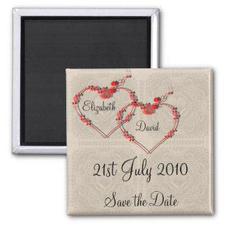 Rosebud Hearts Square Magnet