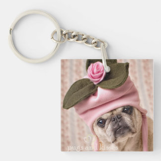 Rosebud Pug Key Chain