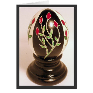 Rosebud Pysanka Egg Note Card - Blank Inside