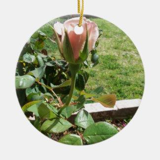 Rosebud! Round Ceramic Ornament