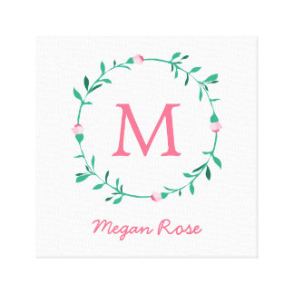 Rosebud Wreath Pink & Green Name Nursery Art Canvas Print