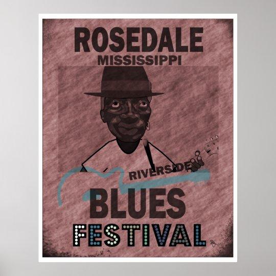 Rosedale Mississippi Blues Festival Guitar Poster