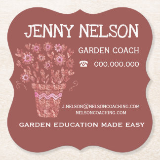 RoseGold & Chili Garden Coaching Business Paper Coaster
