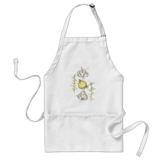 Rosemary Herb Garlic Onion Kitchen Art Drawing Standard Apron