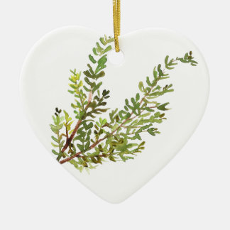 Rosemary herb Rosemary watercolour painting Ceramic Heart Ornament