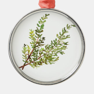 Rosemary herb Rosemary watercolour painting Silver-Colored Round Ornament