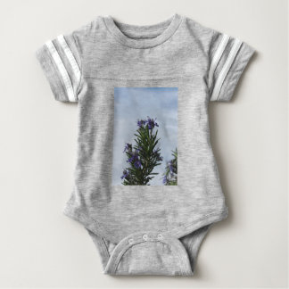 Rosemary plant with flowers against the sky baby bodysuit