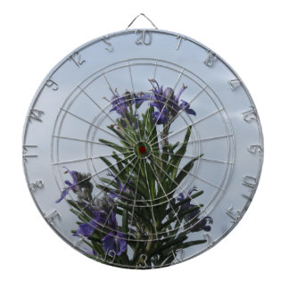 Rosemary plant with flowers against the sky dartboards