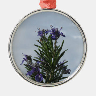 Rosemary plant with flowers against the sky metal ornament