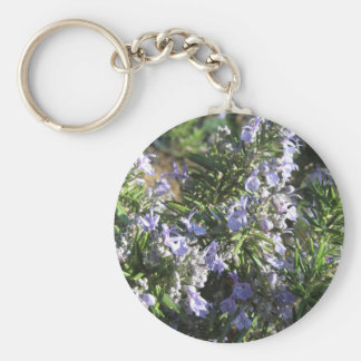 Rosemary plant with flowers in Tuscany, Italy Keychain