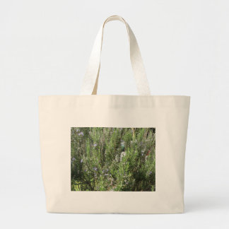 Rosemary plant with flowers . Tuscany, Italy Large Tote Bag