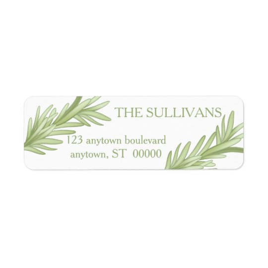 Rosemary Sprigs Herbal Wedding Return Address Label