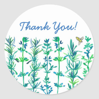 Rosemary Thyme Bee Watercolor Herbs Thank You Classic Round Sticker