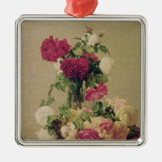 Roses, 1891 Silver-Colored square ornament