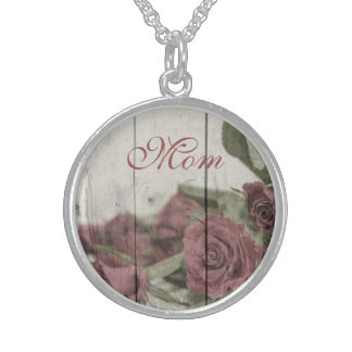 Roses against Whitewashed Wood Sterling Monogram Sterling Silver Necklace