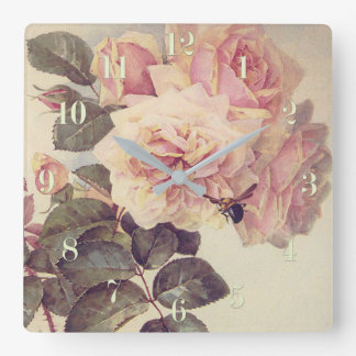 Roses and a Bumblebee Fine Art Square Wall Clock